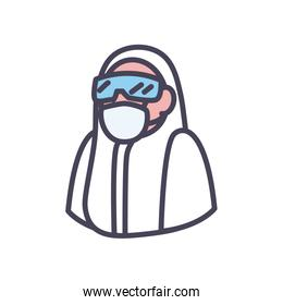 Doctor with protective suit glasses and mask fill style icon vector design