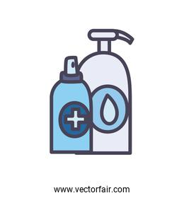 Antibacterial bottle fill style icon vector design