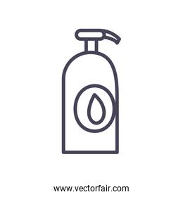 Antibacterial bottle line style icon vector design
