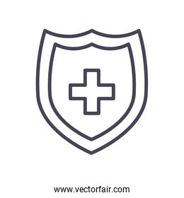 Medical shield with cross line style icon vector design