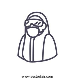 Doctor with protective suit glasses and mask line style icon vector design