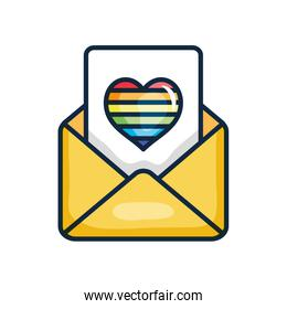envelope and letter with pride heart icon, line color style