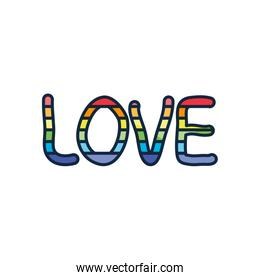 pride concept, love lettering design with lgbt colors, line color style