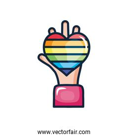 hand with pride heart icon, line color style