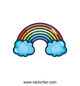 rainbow and clouds icon, line color style