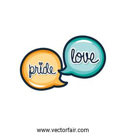 speech bubbles with pride and love lettering design, line color style