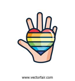 open hand with pride heart icon, line color style