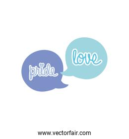 speech bubbles with pride and love lettering design, flat style