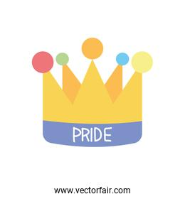 colorful pride crown icon, flat style