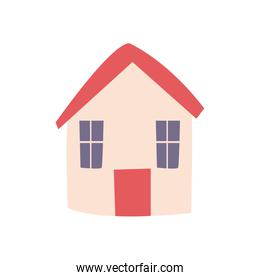 House with windows and door flat style icon vector