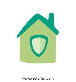 Shield inside house flat style icon vector design