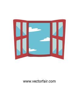 Isolated window with clouds flat style icon vector design