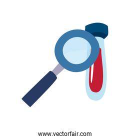 Medical blood tube and lupe flat style icon vector design