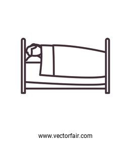 Isolated home bed line style icon vector design