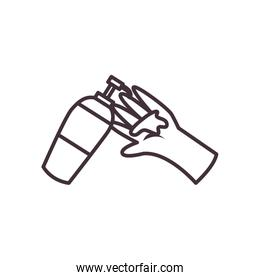 Isolated hand with soap dispenser line style icon vector design
