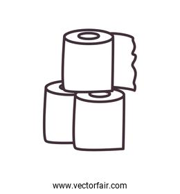 Isolated toilet papers line style icon vector design