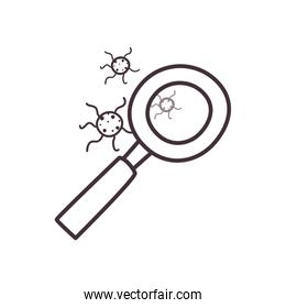 Lupe with covid 19 virus line style icon vector design