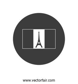 Bastille day concept, france flag with eiffel tower icon, block silhouette style