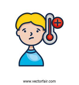 virus concept, cartoon man with fever icon, line color style