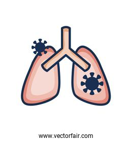 diseased lungs icon, line color style