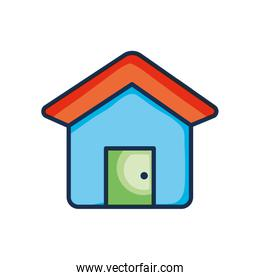 Cartoon house icon, line color style
