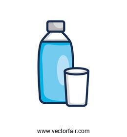 water bottle and glass icon, line color style