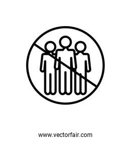 virus concept, prohibited crowd symbol, forbidden sign with people, line style
