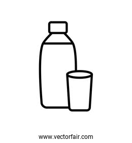 water bottle and glass icon, line style