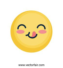 happy emoji face with tongue, flat style
