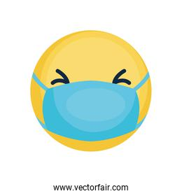 emoji with closed eyes and mouth mask icon, flat style