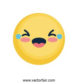 emoji face with tears of joy, flat style