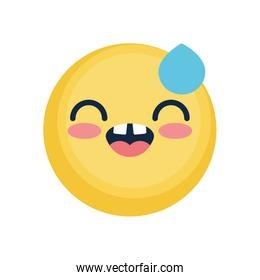 happy emoji face with tear icon, flat style