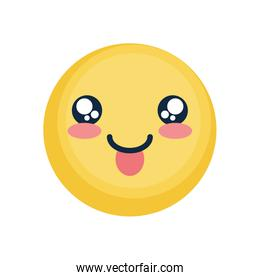Cute happy emoji with tongue, flat style