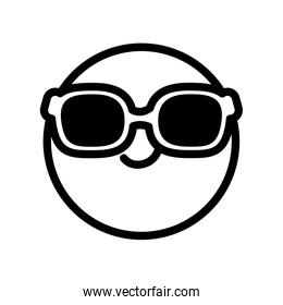 cool emoji with sunglasses icon, line style