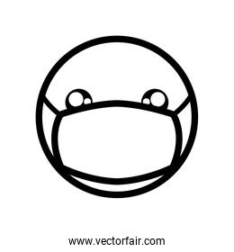 emoji with mouth mask, line style