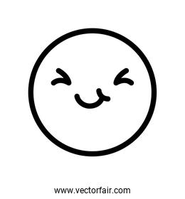 Smiling emoji face with Smiling Eyes, line style