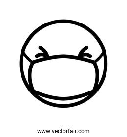emoji with closed eyes and mouth mask icon, line style