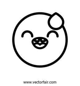 happy emoji face with tear icon, line style