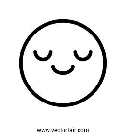 emoji with closed eyes and happy smile, line style