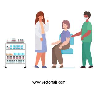 male and female doctors vaccinating woman vector design