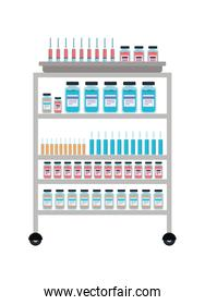 Medicine jars tubes and injections cart vector design