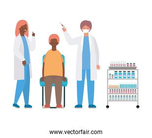 male and female doctors vaccinating man vector illustration