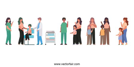 male and female doctors vaccinating kids and mothers vector design