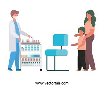 male doctor vaccinating boy and mother vector design