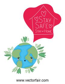kawaii world cartoon and stay safe and at home text vector design