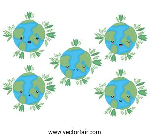 set of kawaii world spheres cartoons with leaves vector design