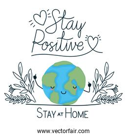 kawaii world cartoon and stay positive and at home text vector design