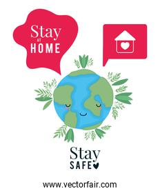 kawaii world cartoon and stay at home and safe text vector design