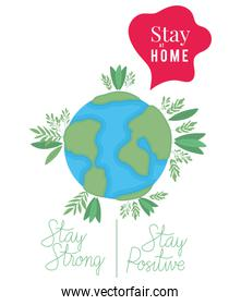 kawaii world cartoon and stay at home strong and positive text vector design