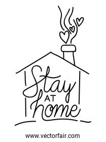 Stay at home text and house with hearts vector design